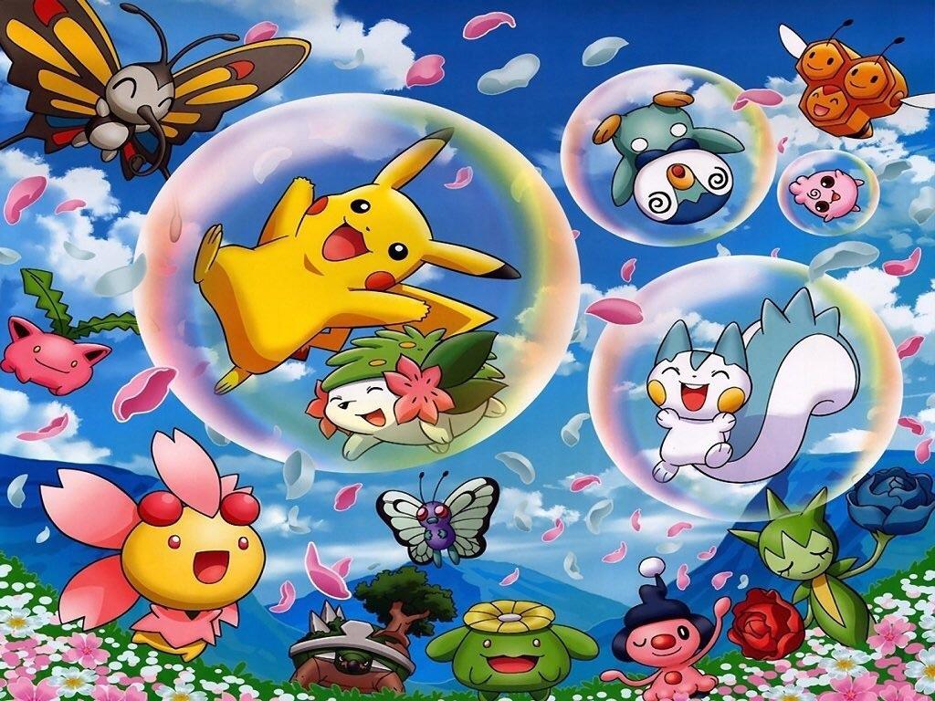 Pikachu and vrienden in the garden