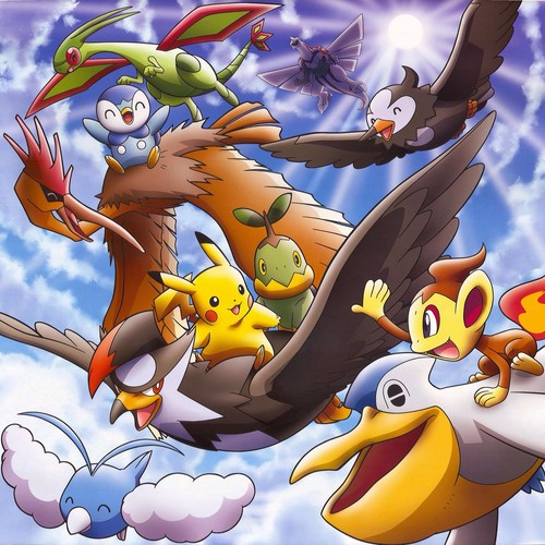 pokémon wallpaper containing animê entitled pikachu and friends in the sky