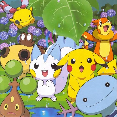 Pokémon wolpeyper probably with anime called Pikachu and mga kaibigan playing in the Spring
