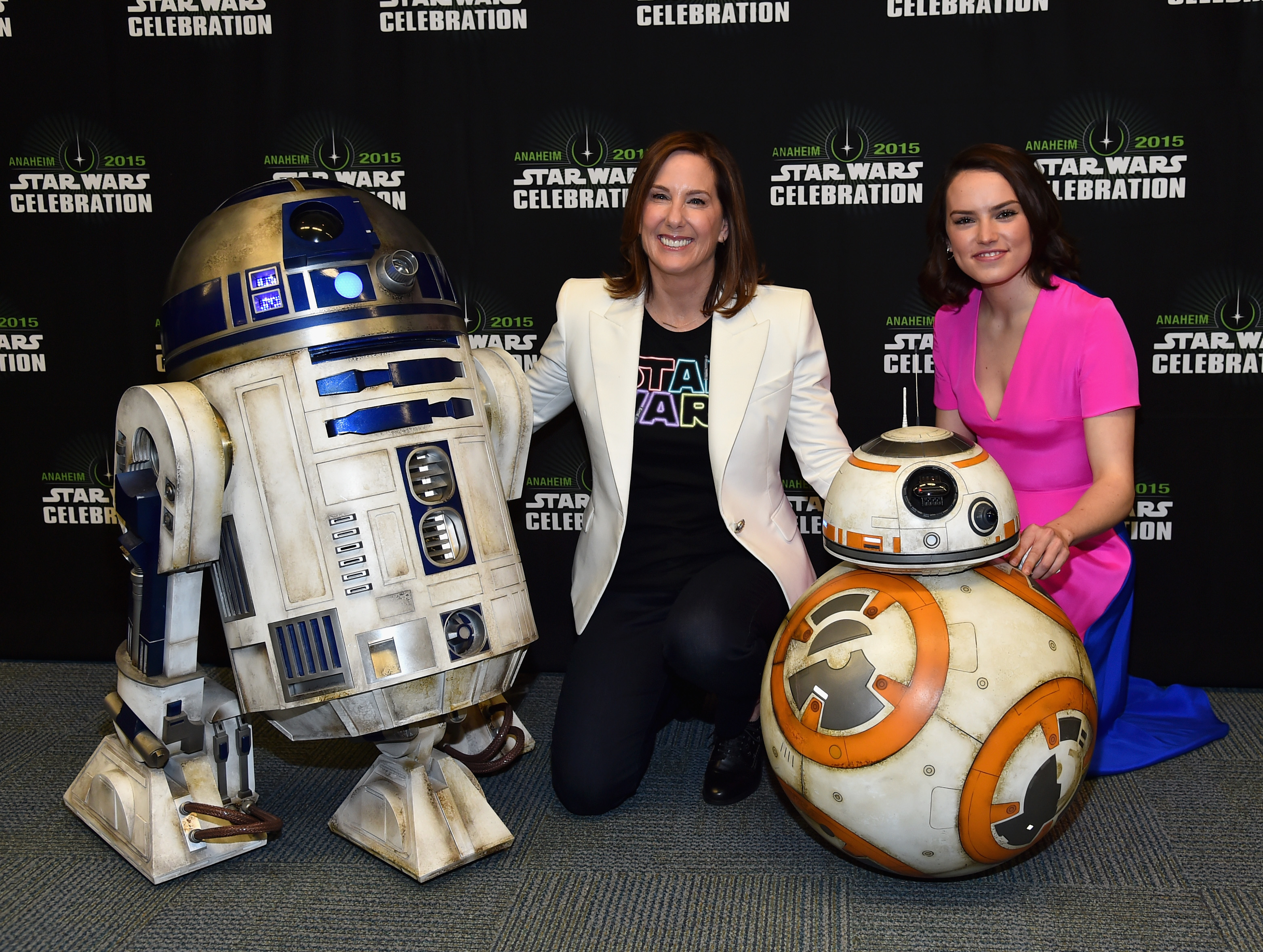 R2D2 BB-8 and Daisy Ridley at The Star Wars Celebration