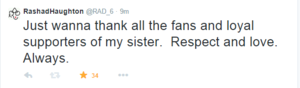 Ra's tweet to Aaliyah fans ♥ We love you soo much!