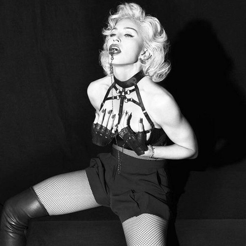 Madonna fond d'écran possibly with hosiery, bare legs, and tights titled Rebel cœur, coeur photoshoot