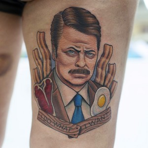 Ron Swanson tocino, bacon and Eggs Tattoo