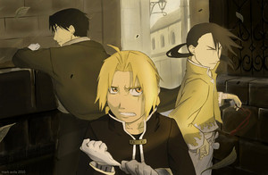 Roy Mustang, Edward Elric and Ling Yao