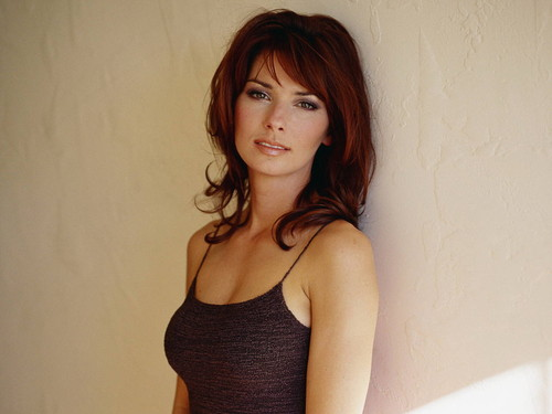 Shania Twain achtergrond possibly with a bustier, a chemise, and a hemdje, hemd titled Shania