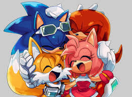Sonic, Knux, Tails, and Amy: :D