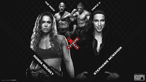 The Rock and Ronda Rousey vs Triple H and Stephanie
