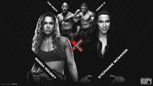 WWE 바탕화면 entitled The Rock and Ronda Rousey vs Triple H and Stephanie