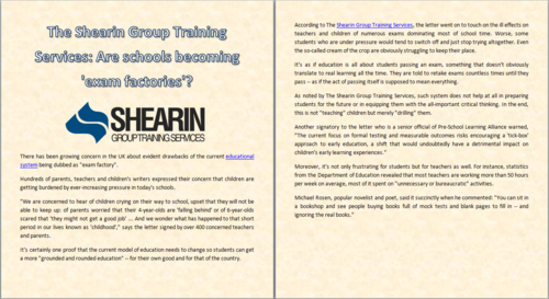 Education hình nền entitled The Shearin Group Training Services: Are schools becoming 'exam factories'?