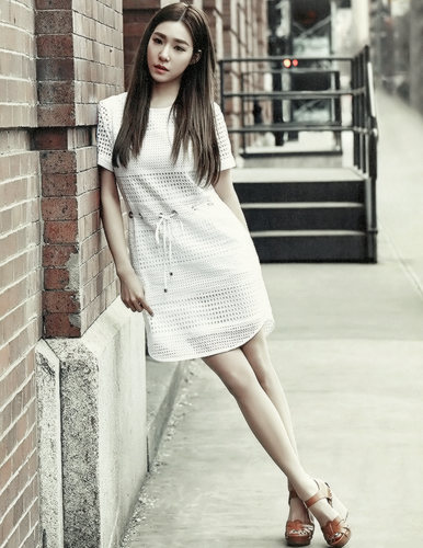 Tiffany Hwang fondo de pantalla probably containing bare legs, hosiery, and a playsuit, traje de juguete called Tiffany - Grazia Korea Magazine editar
