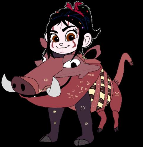 Vanellope von Schweetz wolpeyper called Vanellope dressed as Pumbaa 1 (Recreated)