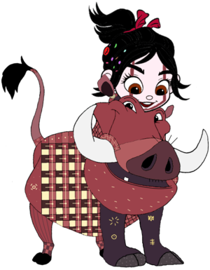Vanellope dressed as Pumbaa 4
