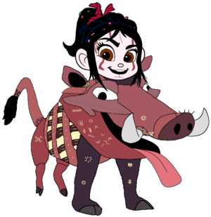 Vanellope dressed as Pumbaa 5