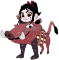 Vanellope dressed as Pumbaa (Recreated)