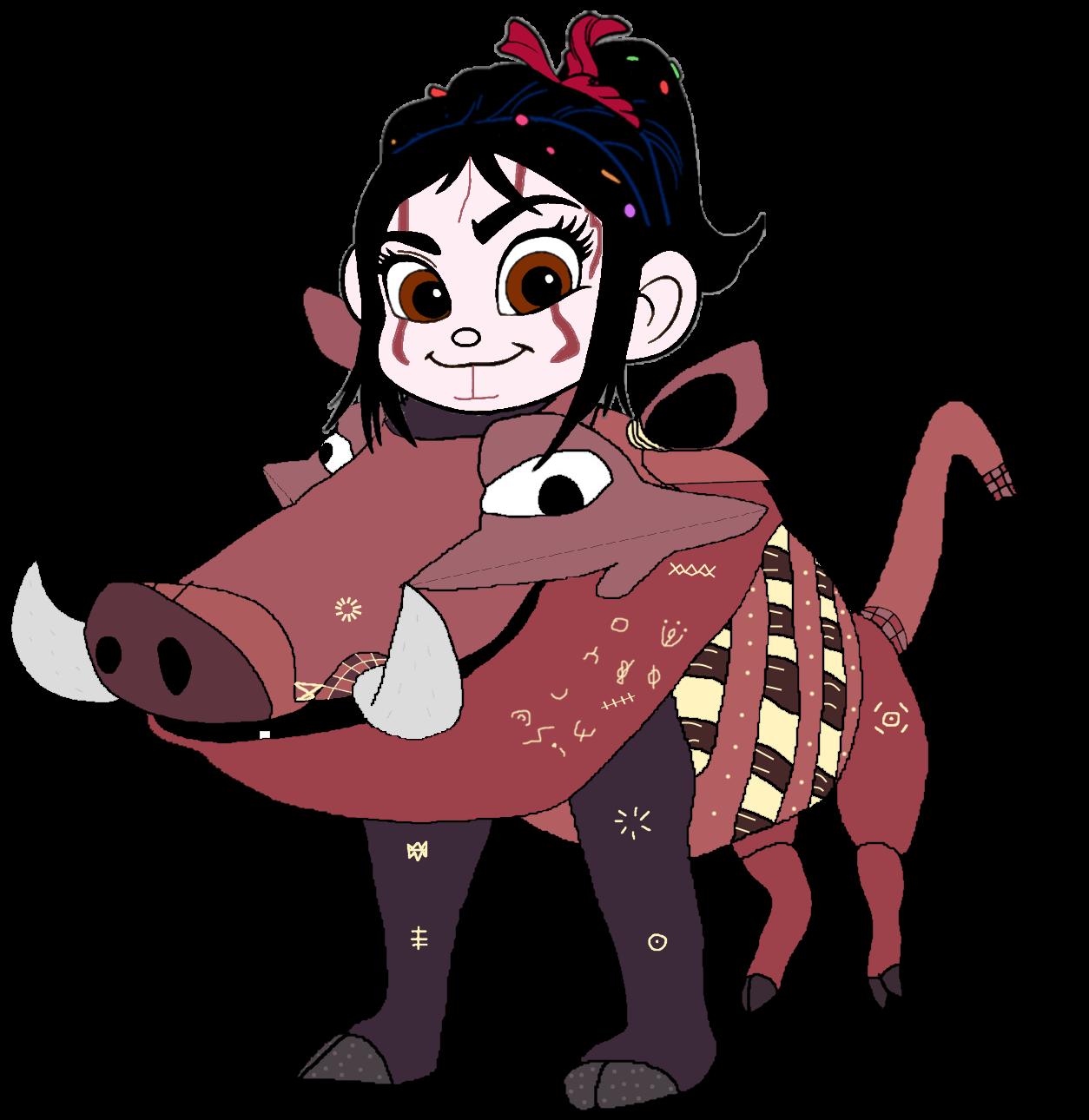 Vanellope dressed as Pumbaa (Recreated)