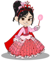 Vanellope in a Princess vestido with her Crown (Still President)