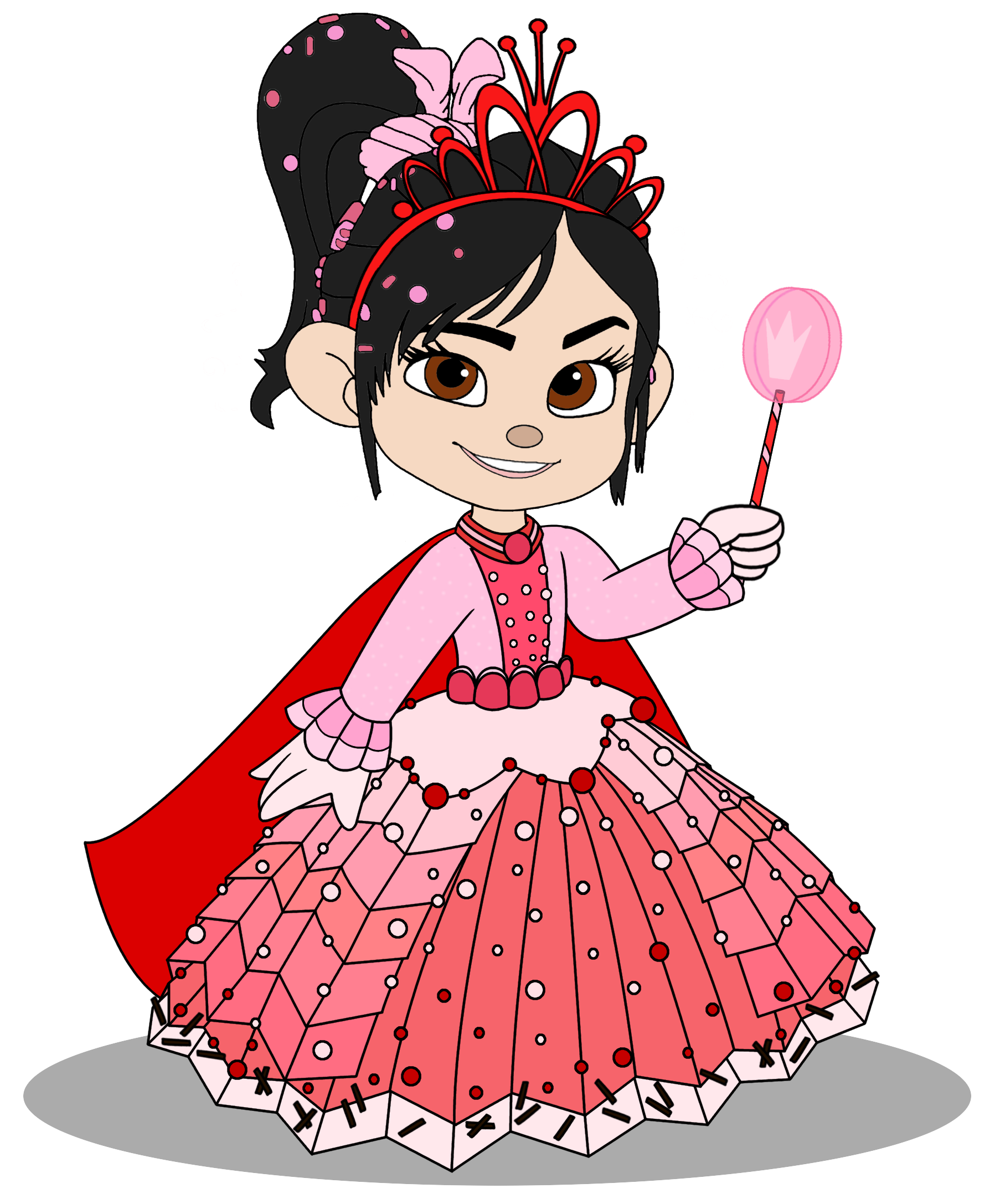 Vanellope in a Princess robe with her Crown (Still President)