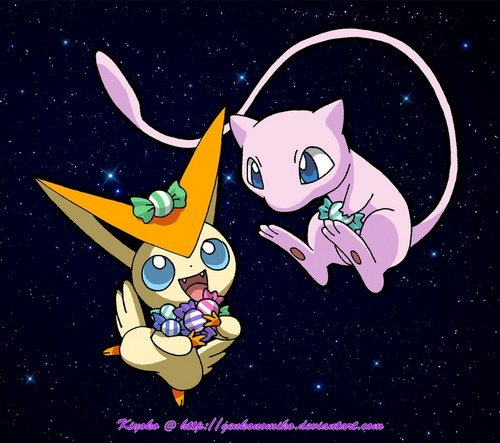 Legendary Pokemon پیپر وال containing عملی حکمت entitled Victini & Mew with candy