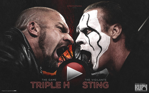 WWE wallpaper containing anime entitled WrestleMania 31 - Triple H vs Sting