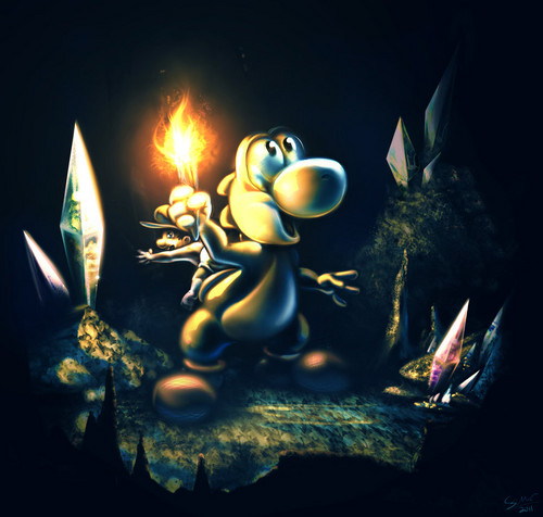Yoshi wolpeyper titled Yoshi's Island - into the caves