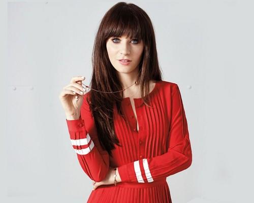 주이 디샤넬 바탕화면 containing a well dressed person, a chemise, and a 칵테일 dress called Zooey Deschanel