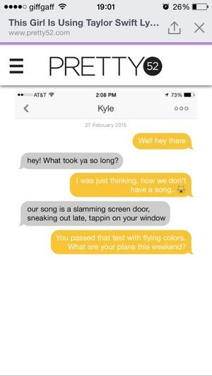 girl using taylor schnell, swift lyrics to flirt