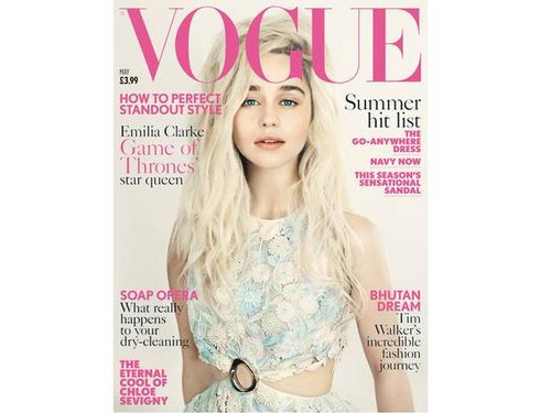 Emilia Clarke achtergrond probably with a portrait called on a cover of Vogue Magazine