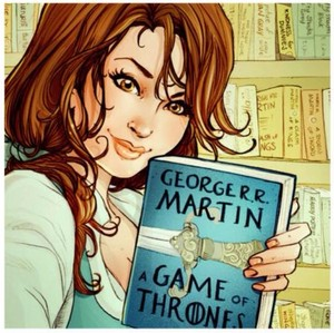 Belle reading Game of Thrones