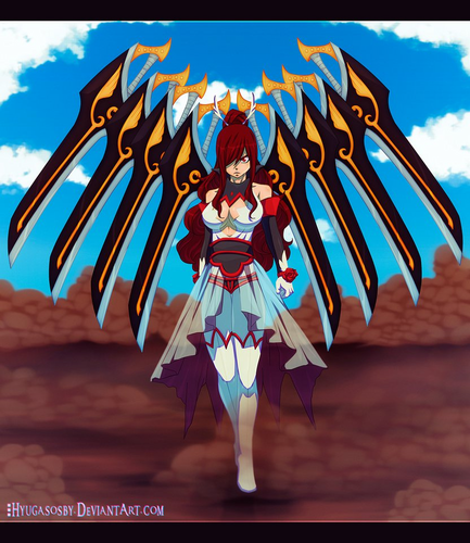 Erza Scarlet wallpaper probably containing a triceratops titled *Erza's New Armor*