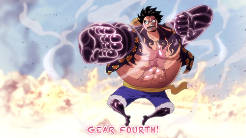 Monkey D. Luffy karatasi la kupamba ukuta titled *Luffy Gear Fourth : Pound Man*