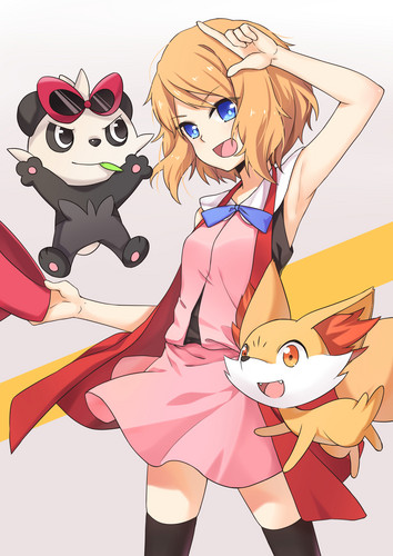 pokemon wallpaper possibly with anime entitled Pokemon Serena