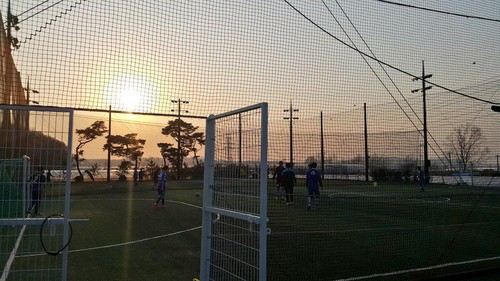 JYJ wallpaper containing a chainlink fence entitled [TWITTER] 150422 Kim Junsu Twitter Updates: Playing soccer with Lee Kikwang~