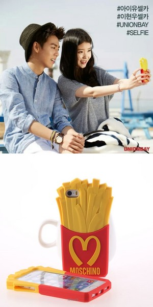 [WARDROBE] ‪IU‬'s french fry phone cover in ‎Unionbay‬ BTS