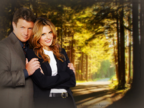 Caskett kertas dinding with a business suit and a well dressed person titled ...a new chapter begins
