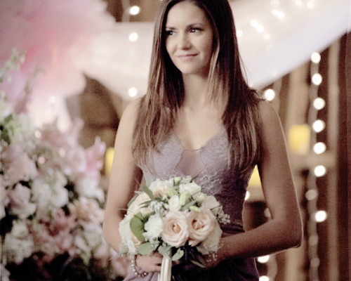"The Vampire Diaries TV toon achtergrond containing a bouquet and a bridesmaid entitled 6x21 ""I'll Wed u in the Golden Summertime"""