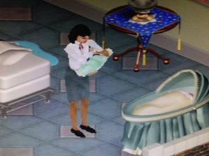 A sim with her baby