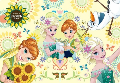 Frozen Fever Hintergrund probably containing a paisley entitled Anna and Elsa