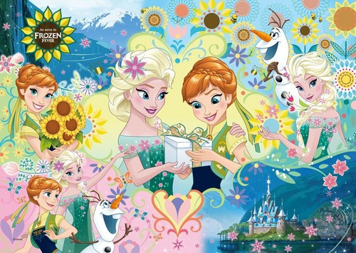 Frozen Fever Hintergrund possibly containing Anime called Anna and Elsa