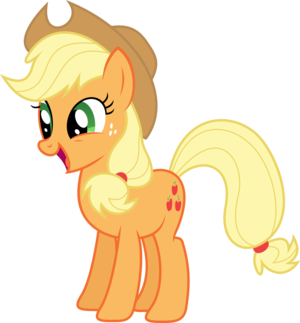 applejack smiling atau laghing watever it is its there