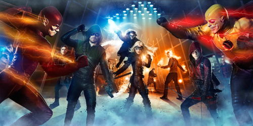 The Flash (CW) wallpaper with a concerto titled Arrow/The Flash - Full Superhero Fight Club Key Art