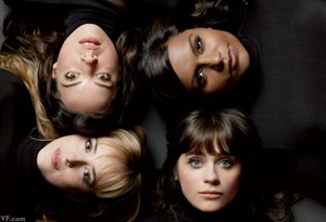 Aubrey Plaza, Mindy Kaling, Zooey Deschanel and Dakota Johnson in Vanity Fair - January 2013