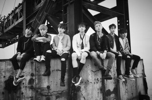 BTS in black-and-white teaser imej