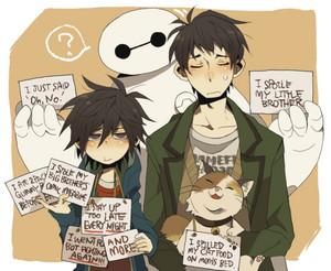 Baymax, Hiro, Tadashi and Mochi