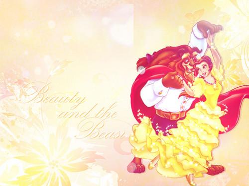 Princesses Disney fond d'écran containing a bouquet and a rose titled Beauty and the Beast fond d'écran