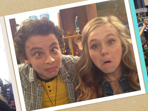 Behind the scenes: Sawyer and Bella poses a wacky shot!