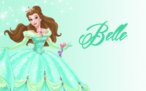 Disney Princess wolpeyper called Belle in green