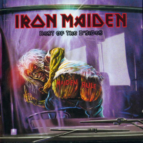 Iron Maiden wallpaper probably with a sign and a canned meat entitled Best of the B'Sides