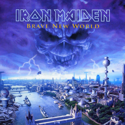 Iron Maiden kertas dinding with a business district titled Brave New World