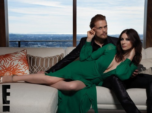 outlander série de televisão 2014 wallpaper containing a couch, a living room, and a family room titled Caitriona Balfe and Sam Heughan on Emmy Magazine Photoshoot