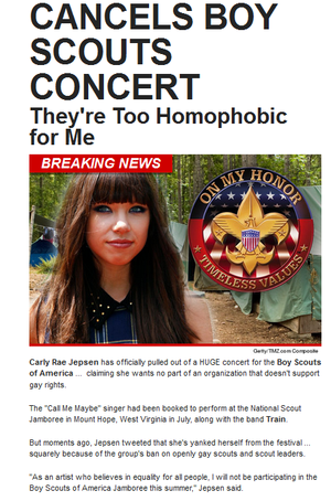 Carly Rae Jepsen Cancels Boy Scouts Concert